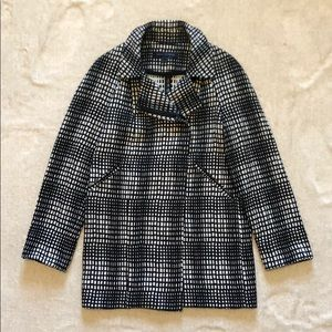 French Connection Black and White Button-up Coat